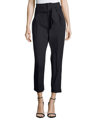 Fisheri High-Waist Cropped Wool Pants, Black
