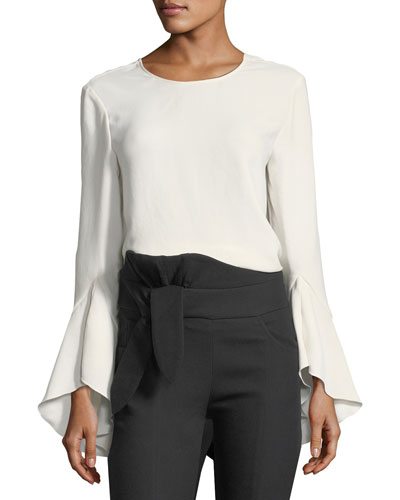Haley Bell-Sleeve V-Back Top, Ecru