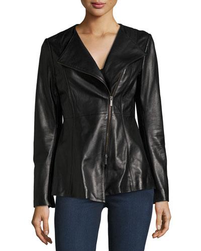 Leather Peplum Jacket, Black