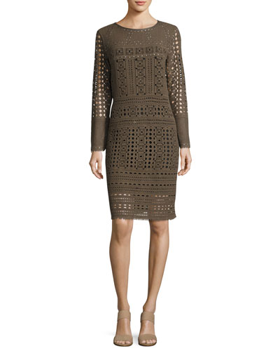 Long-Sleeve Lacy Knit Sheath Dress, Petite