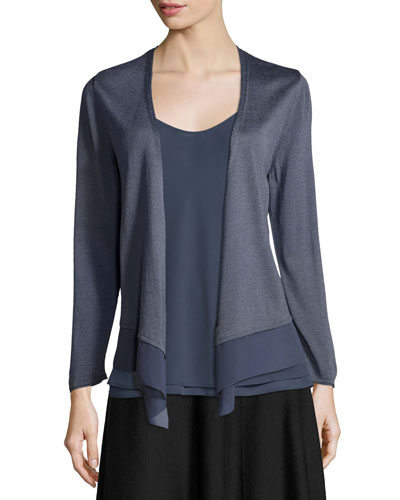 Long-Sleeve Knit Cardigan W/ Chiffon Trim, Plus Size