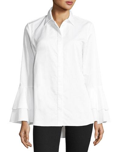Ruffle-Sleeve Cotton Shirt, Petite