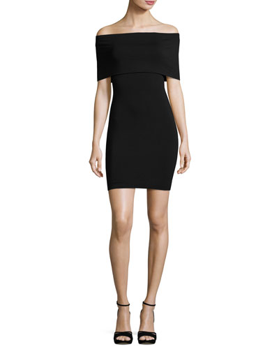 Hot Doggin Popover Body-Con Dress, Black