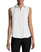 Fiona Sleeveless Button-Down Linen Shirt, Blue Stripes