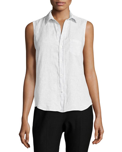 Fiona Sleeveless Button-Down Linen Shirt, Blue Stripes