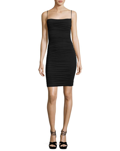 Hodad Ruched Square-Neck Mini Cocktail Dress, Black