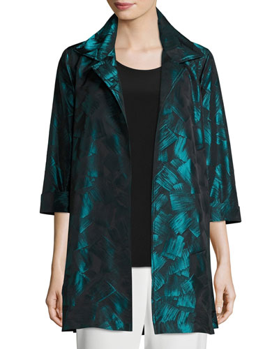 Brushstroke Jacquard Party Jacket, Plus Size