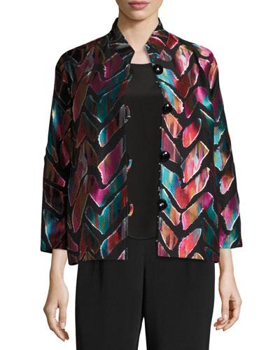 Vivid Dreams Jacquard Bracelet-Sleeve Jacket, Plus Size