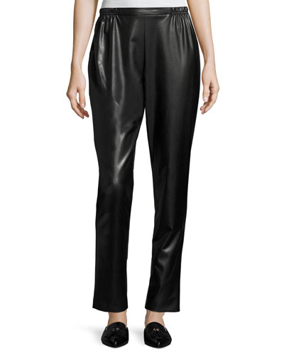 Bi-Stretch Faux-Leather Pants, Black, Petite