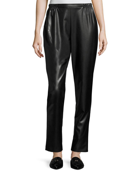 Caroline Rose Petite Bi-Stretch Faux-Leather Pants, Black