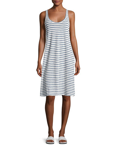 Avril Striped Linen Tank Dress, Blue
