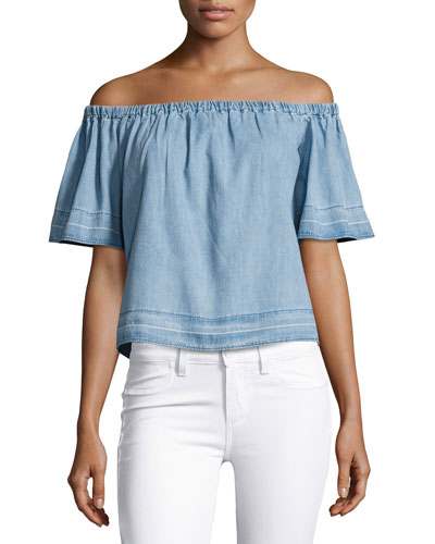 Sylvia Off-the-Shoulder Chambray Top, Blue