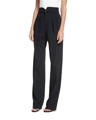 High-Rise Inverted-Pleat Pants w/ Belt