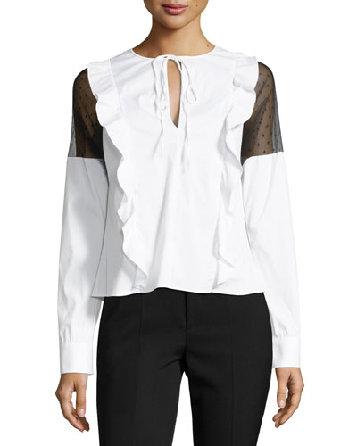 Long-Sleeve Ruffled Poplin Blouse w/ Point d'Esprit Inserts