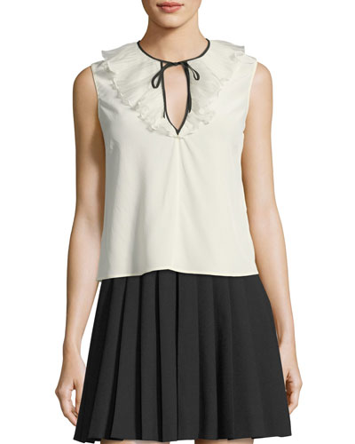 Sleeveless Tie-Neck Silk Crepe de Chine Blouse