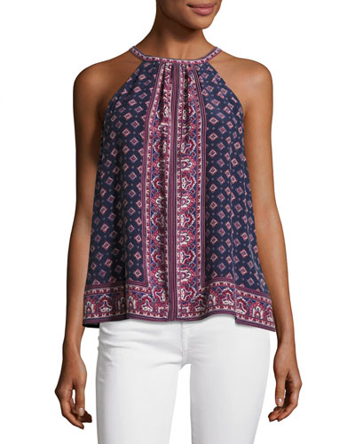 Bradie Sleeveless Halter Silk Top