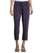 Deidre Printed Drawstring Silk Pants, Blue