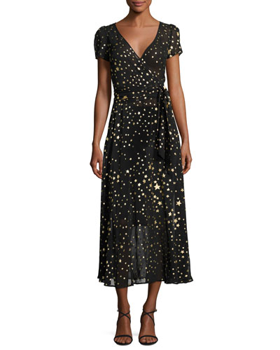V-Neck Short-Sleeve Georgette Wrap Dress