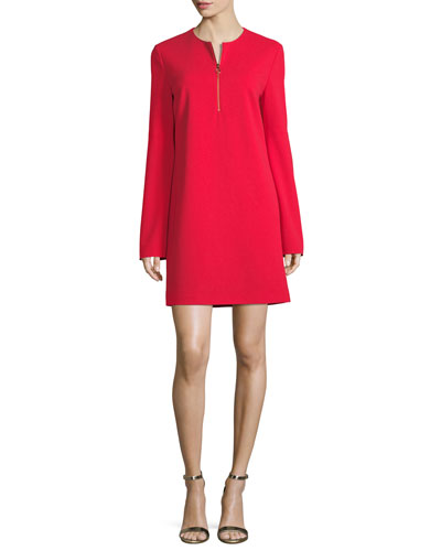 Long-Sleeve Structured Crepe Zip Dress