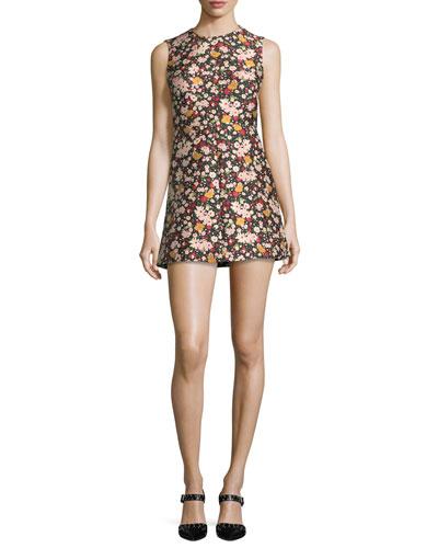 Chelsea Sleeveless Micro-Flower Jacquard Minidress
