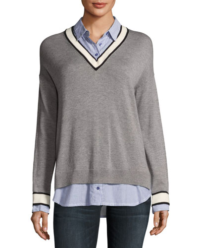 Belva V-Neck Pullover Sweater, Gray