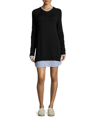 Joie Zaan Long - sleeve Sweater Dress, Blue