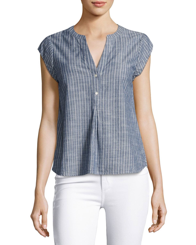 Alania Short-Sleeve Striped Cotton Top, Blue