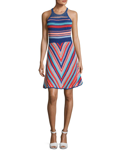 Viola Sleeveless Knit Cotton Dress, Blue Multi