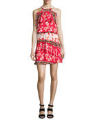 Trisha Popover Floral Silk Mini Dress, Multi