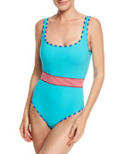 Classic Belted One-Piece Swimsuit, Blue