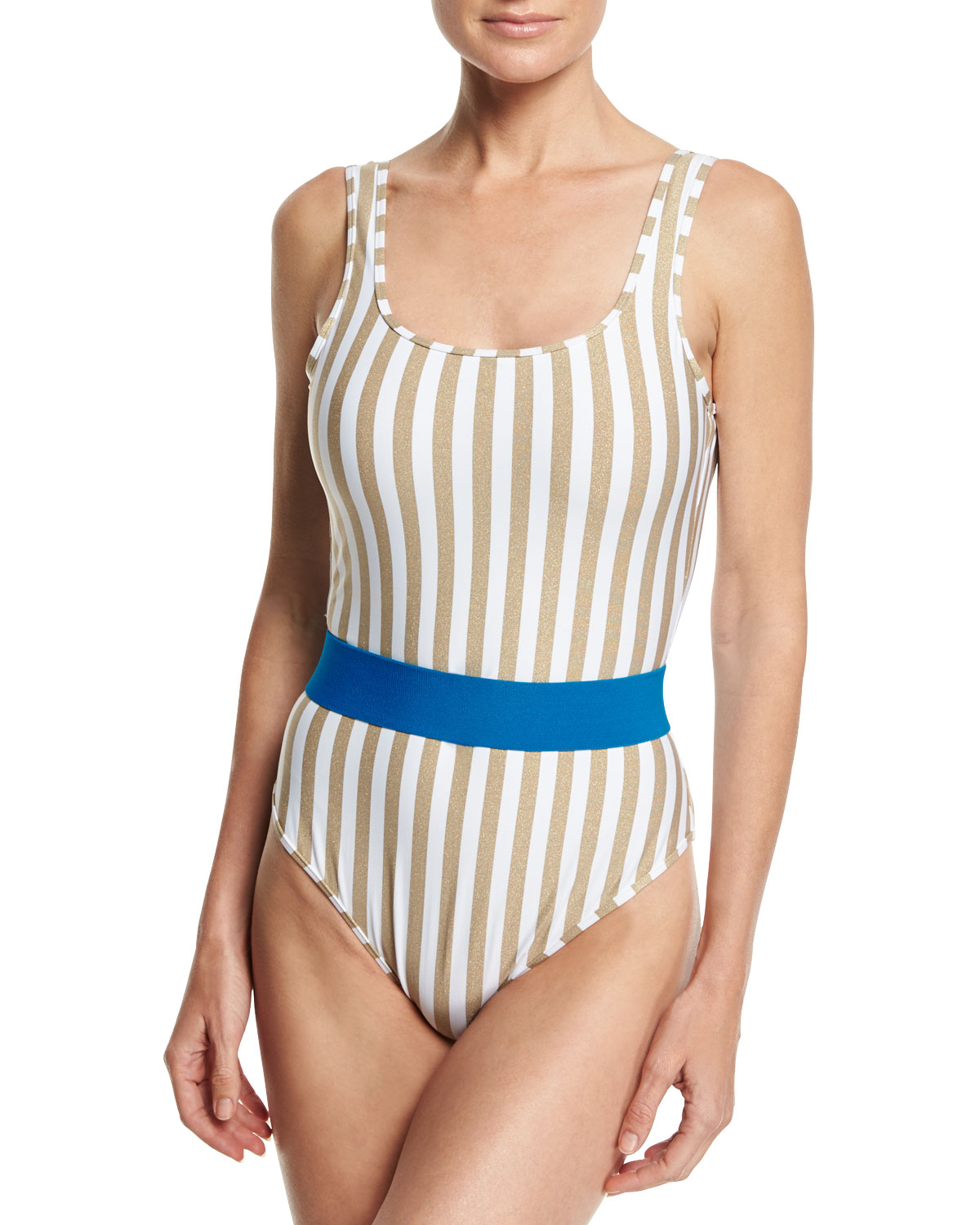 Striped Classic One-Piece Swimsuit White Multi