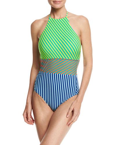 Striped Panel Halter-Neck One-Piece Swimsuit, Multicolor