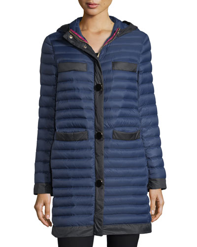 packable soft-down quilted puffer coat in travel bag