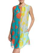 Sleeveless Tie-Neck Knit Dress, Blue Multi