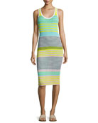 Sleeveless Rib-Knit Midi Dress, Yellow Multi