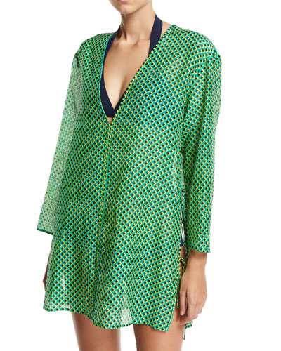 Long-Sleeve V-Neck Tied Mini Dress, Green