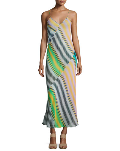 Chiffon Sleeveless Bias-Cut Slip Maxi Dress, Multi