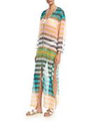 Striped Floor-Length Silk Dress, Yellow Green Orange Multi