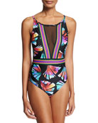 Your #1 Fan Round-Neck One-Piece Swimsuit, Plus Size