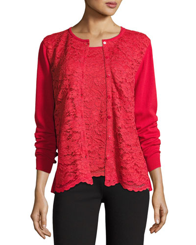 Petite Lace-Inset Button-Front Long-Sleeve Cardigan