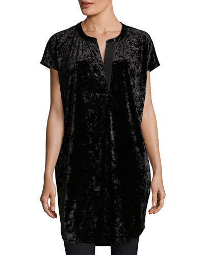 Crushed Stretch Velvet Relaxed Cap-Sleeve Tunic, Plus Size