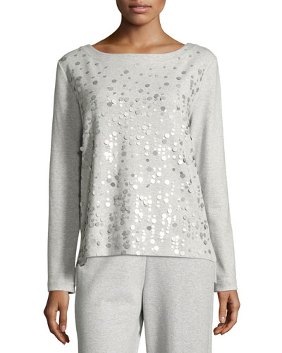 Luxe Cotton Interlock Sequin-Front Top, Petite