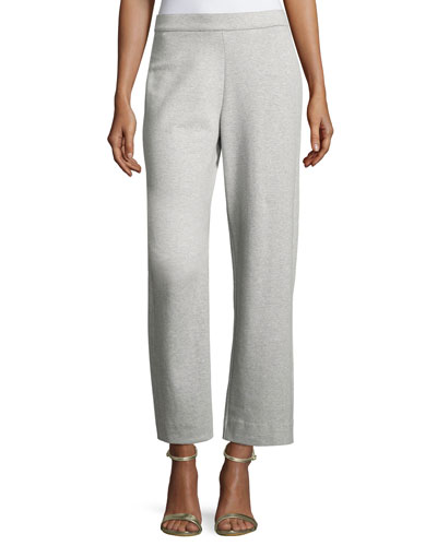 Stretch-Interlock Ankle Casual Pants, Petite
