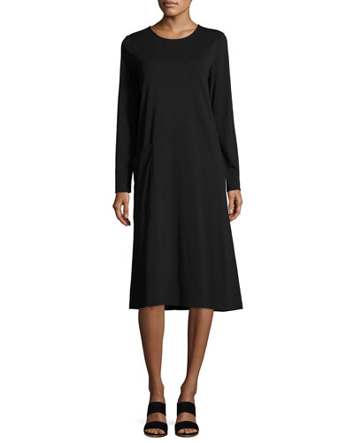 Long-Sleeve Crewneck Interlock Shift Dress, Petite