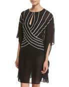 Embrace Striped Belt Caftan Coverup, Black