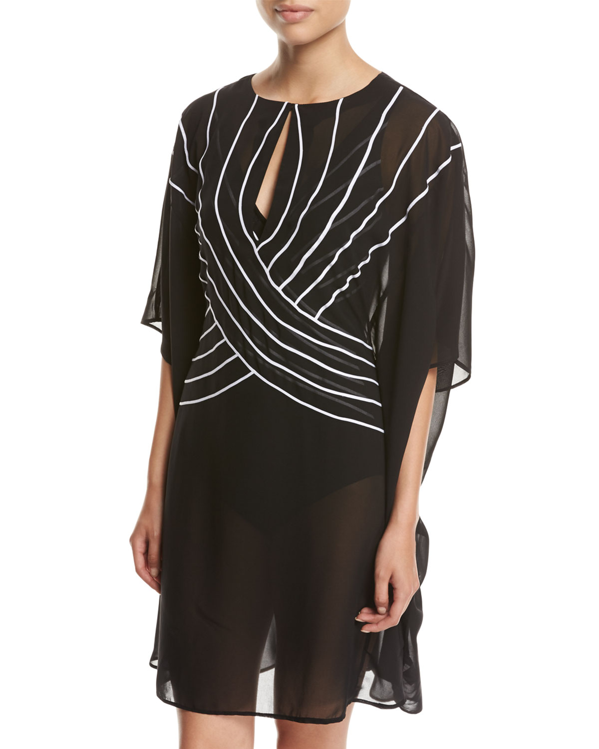 Gottex Embrace Striped Belt Caftan Coverup Black