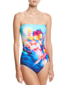 Hawaii Bandeau One-Piece Swimsuit, Blue Multi