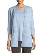 Textured 3/4-Sleeve Hook-Front Knit Jacket