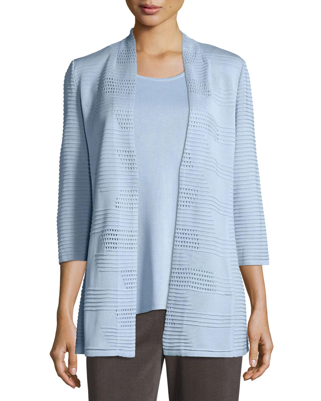 Misook Textured 3/4-Sleeve Hook-Front Knit Jacket