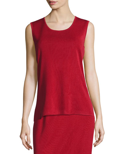 Scoop-Neck Sleeveless Knit Tank, Petite